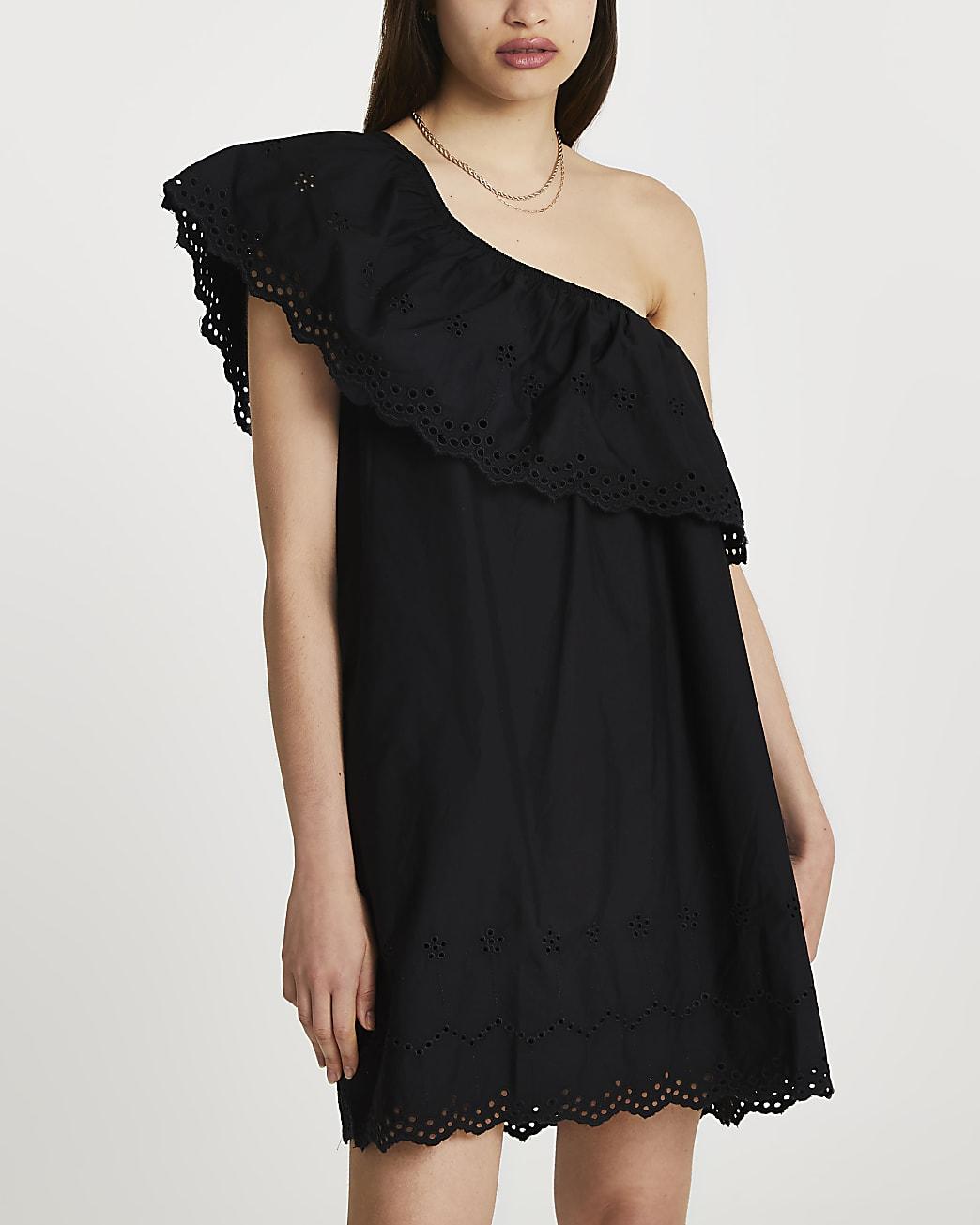 Black one shoulder cut work mini dress