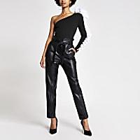 Black one shoulder frill sleeve bodysuit