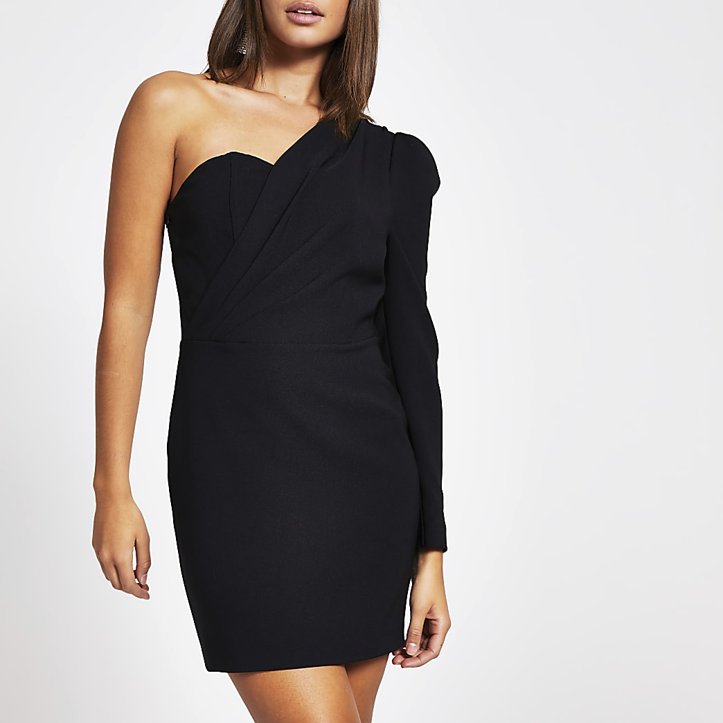 Black one sleeve bodycon mini dress
