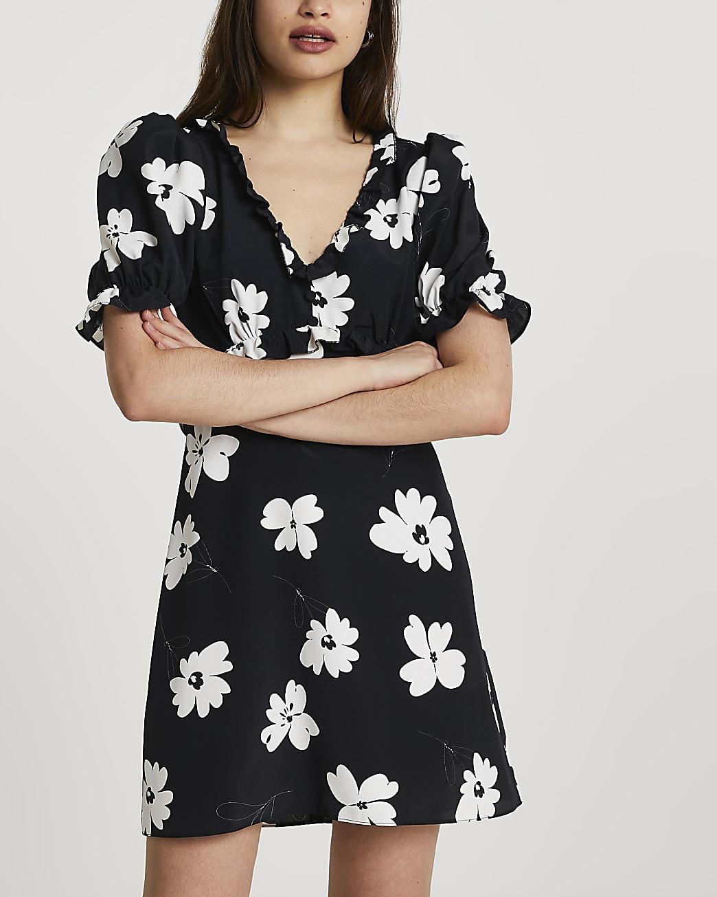Black open back tea mini dress