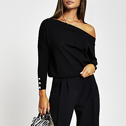 Black open neck asymmetric top
