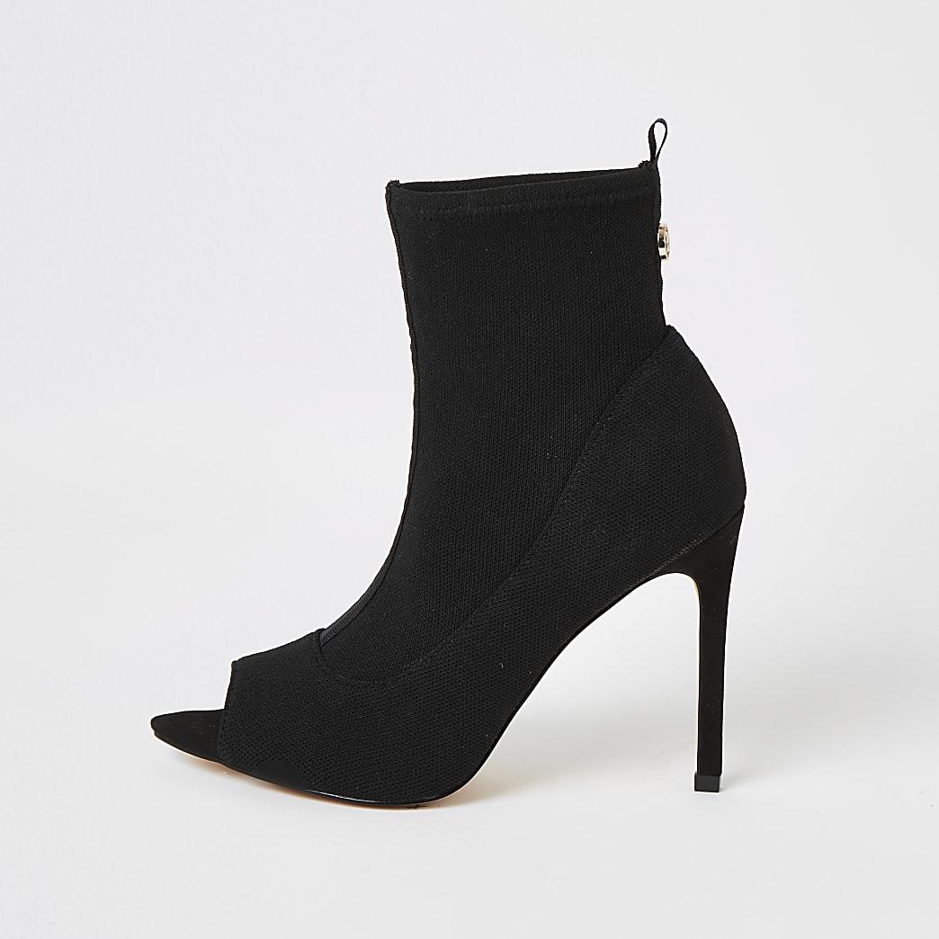 Black open toe heeled sock boots