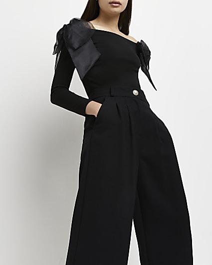 Black organza bow detail bardot top