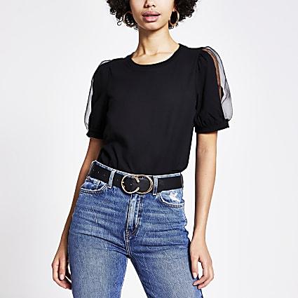 Black organza puff sleeve T-shirt