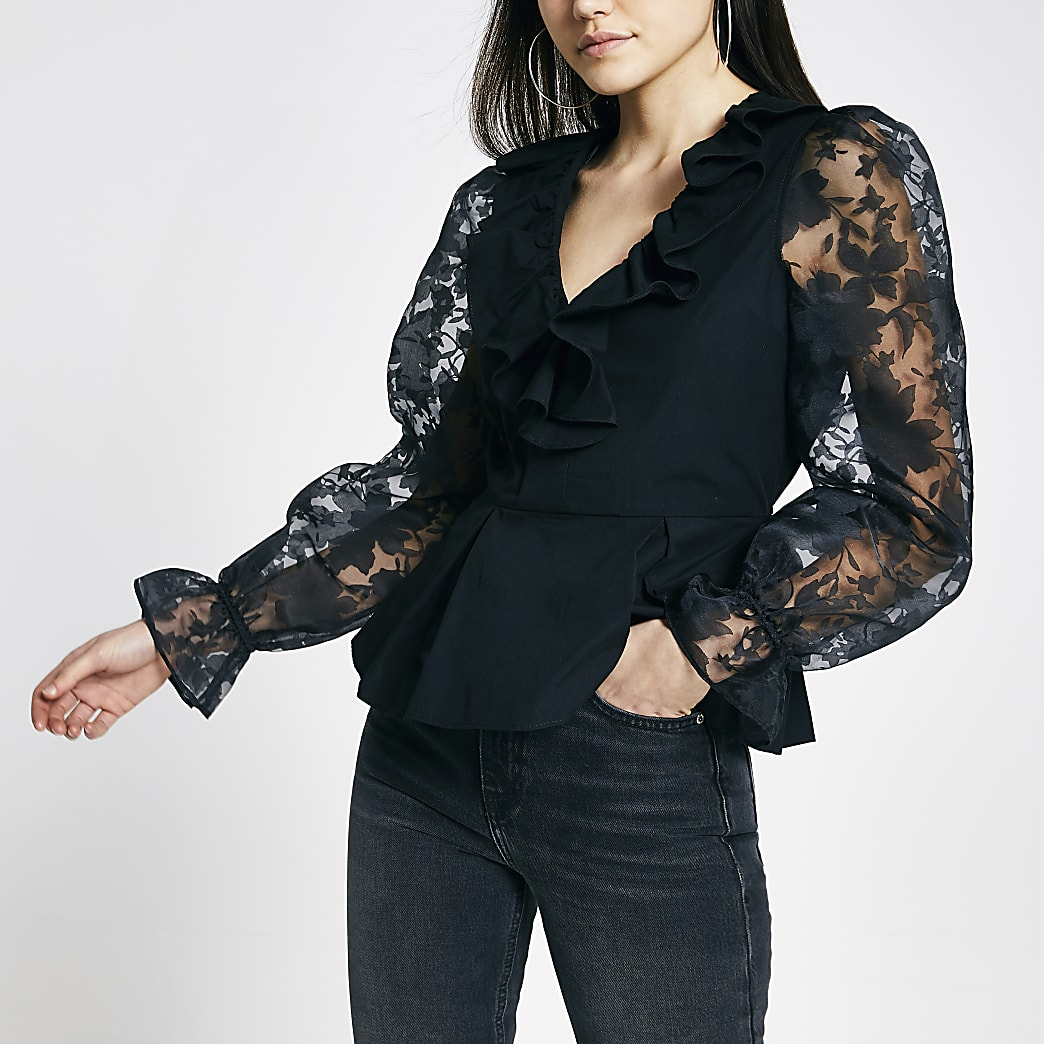 Black organza puff sleeve V neck top