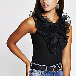 Black organza ruffle top