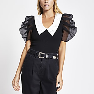 Black organza short sleeve collar top