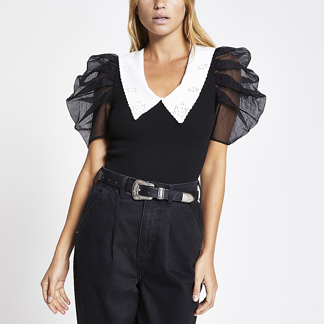 Black organza short sleeve collar top