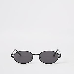 Ovale Sonnenbrille in Schwarz