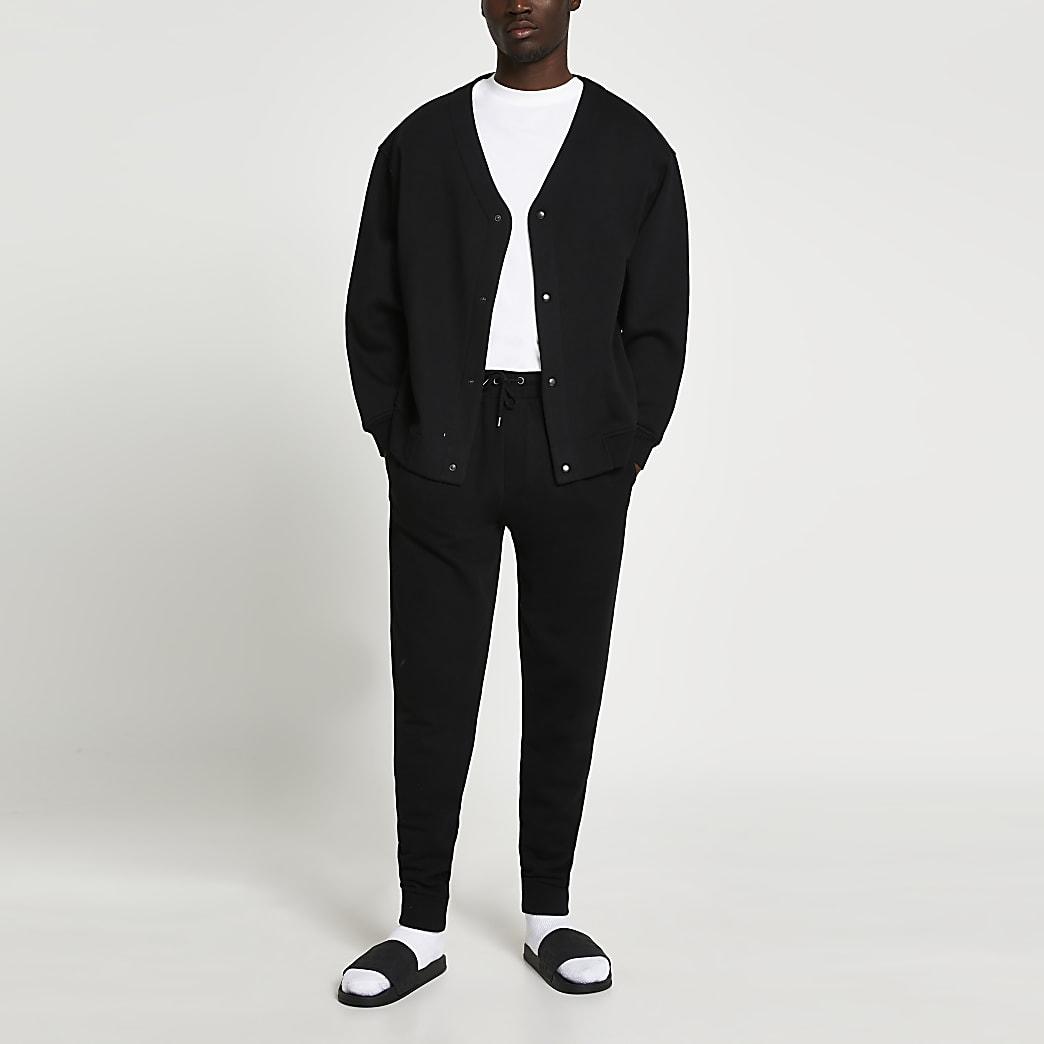 Black oversized button cardigan