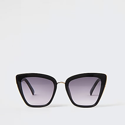 Black oversized cat eye stud sunglasses