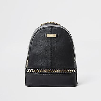 Black oversized chain backpack