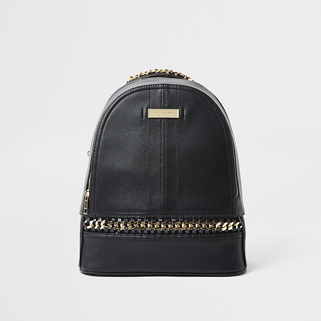 Black oversized chain backpack
