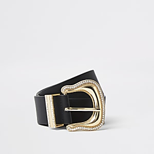 Black oversized diamante Western belt