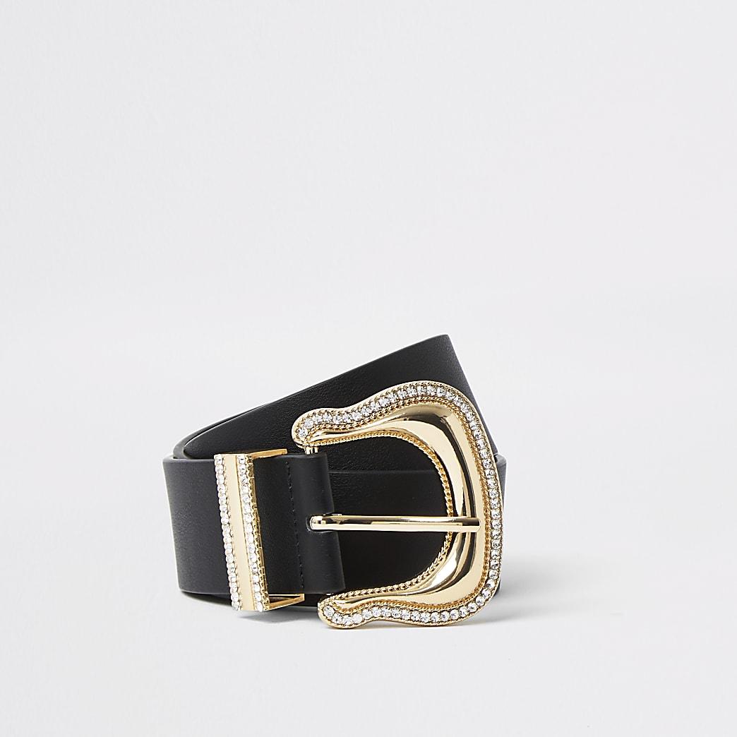 Black oversized diamante Western belt