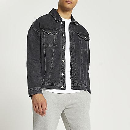 Black oversized fit denim jacket