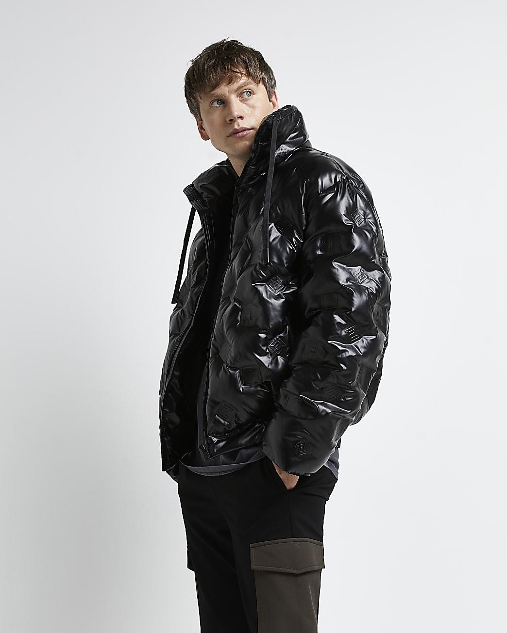 Black oversized fit RI monogram puffer jacket
