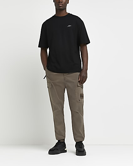 Black oversized fit script t-shirt