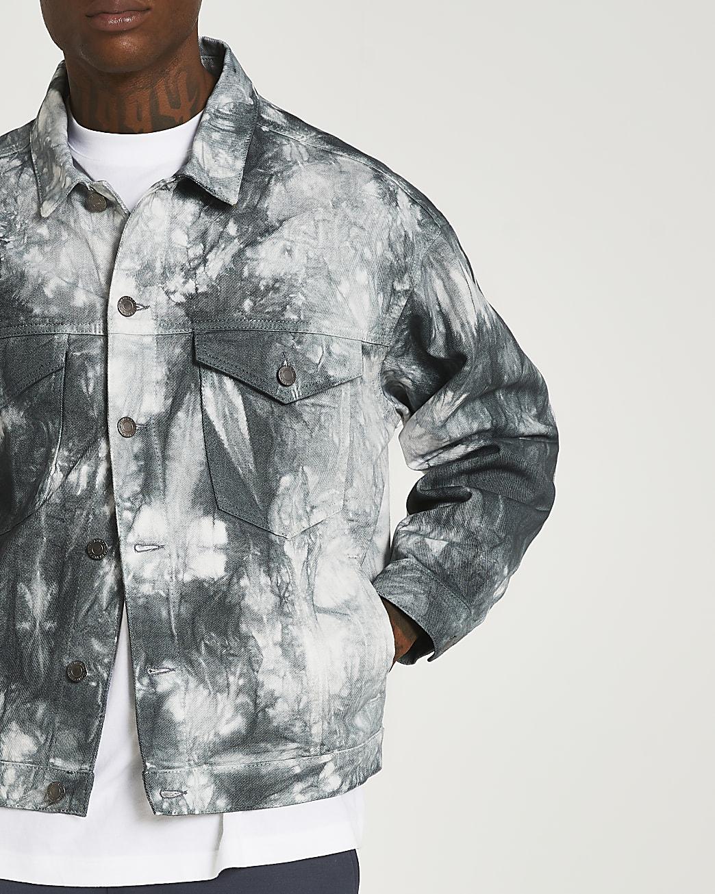 Black oversized fit tie dye denim jacket