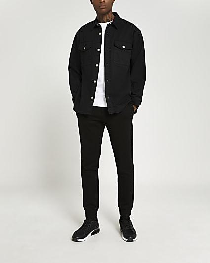 Black oversized fit twill shirt