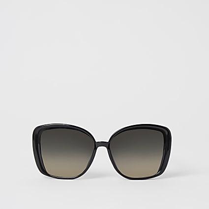 Black oversized glam padlock sunglasses