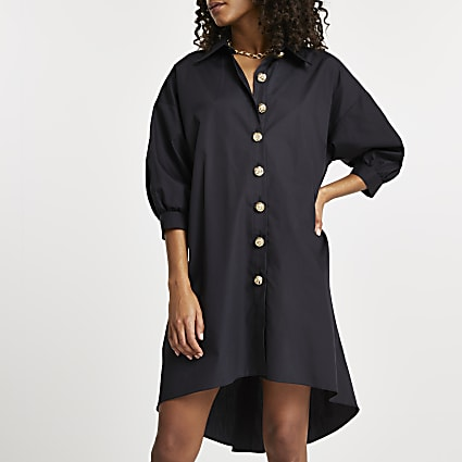 Black oversized gold button shirt dress