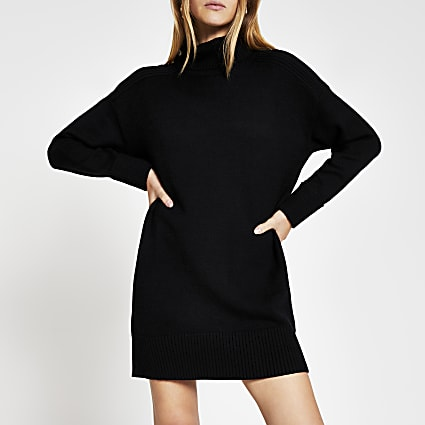 Black Oversized Knitted Jumper Dress