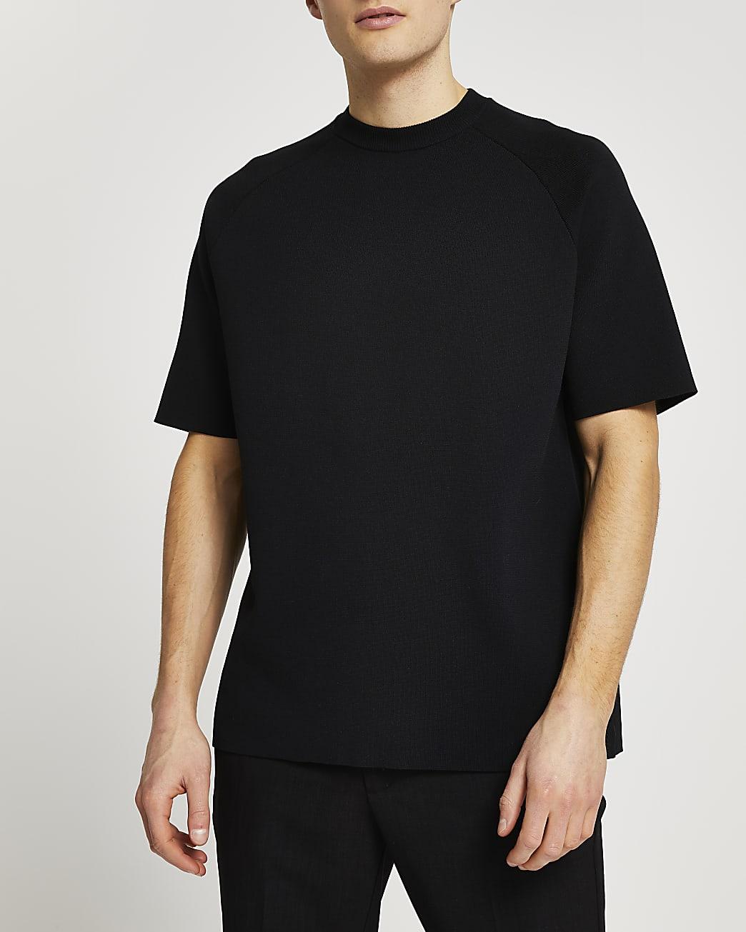 Black oversized knitted t-shirt