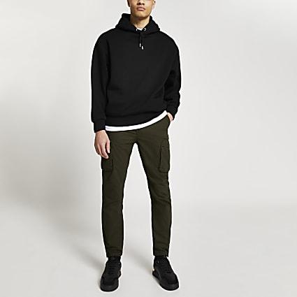Black oversized long sleeve hoodie