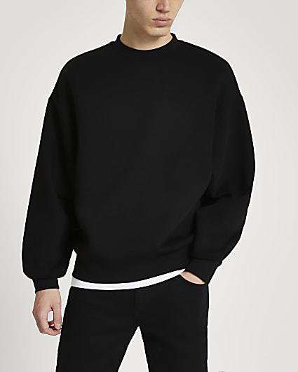 Black oversized long sleeve sweatshirt