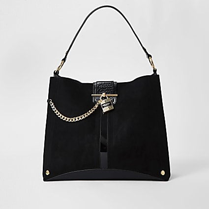 Black oversized padlock slouch bag