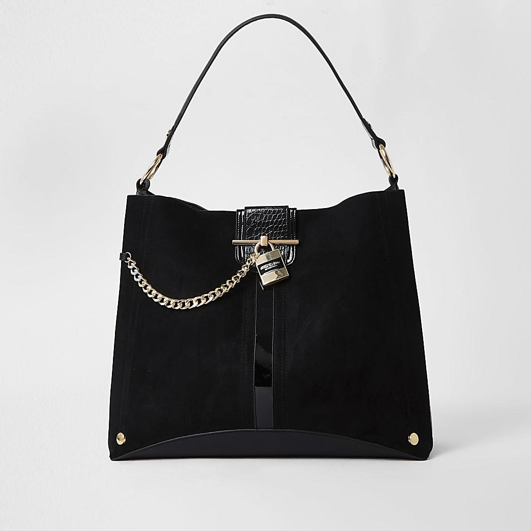 Black oversized padlock slouch bag