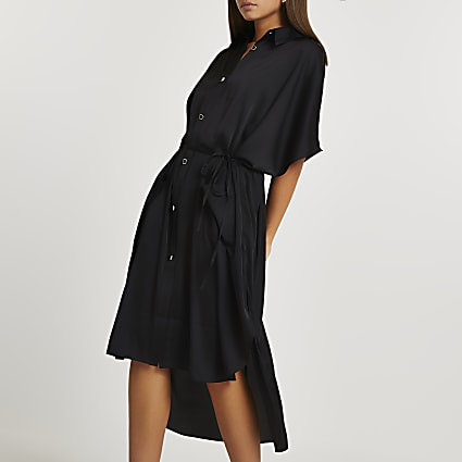 Black oversized pocket shirt dress
