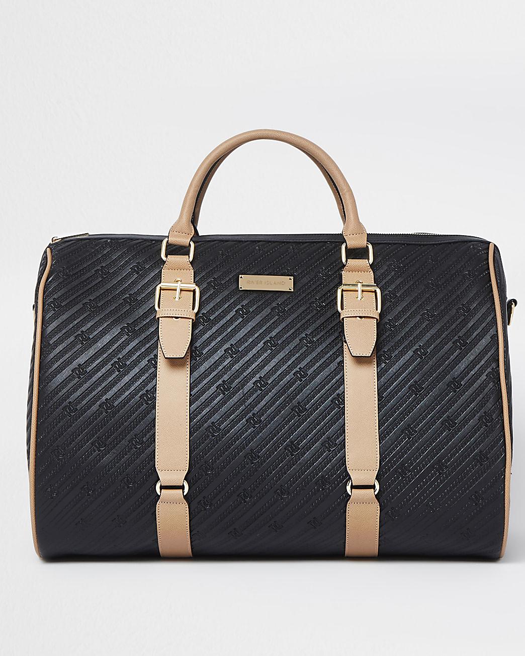 Black oversized RI embossed barrel bag