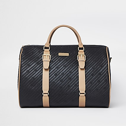 Black oversized RI embossed barrel bag