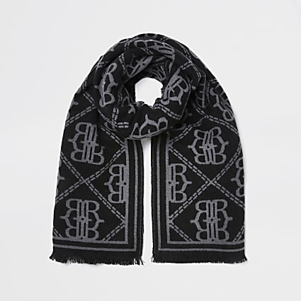 Black oversized RI monogram scarf