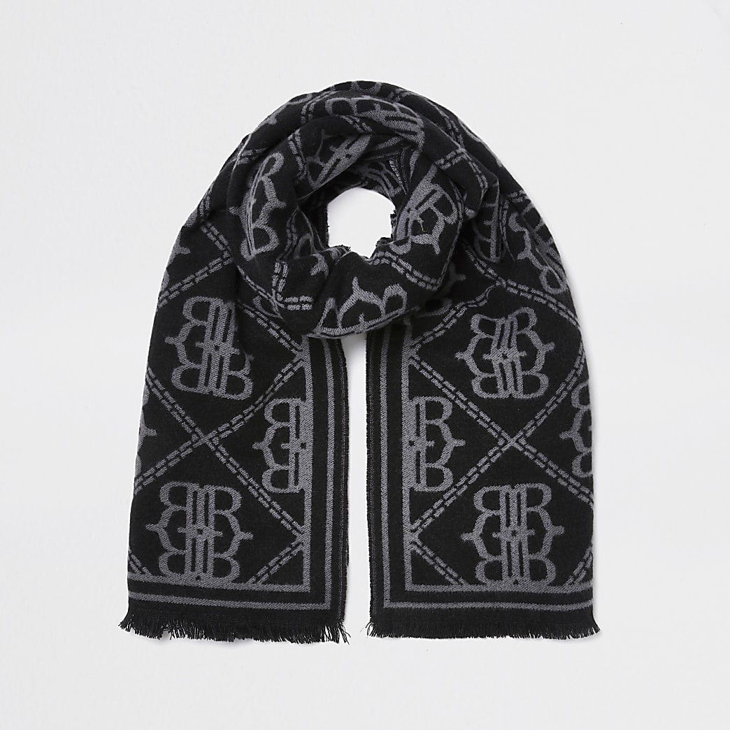 Black oversized RI monogram scarf