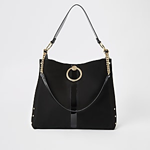 Black oversized ring front slouch bag