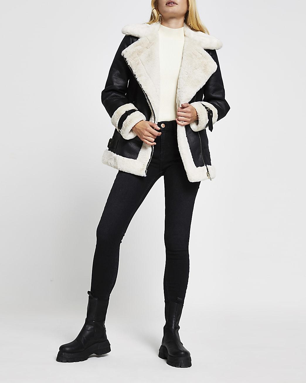 Black oversized shearling aviator jacket