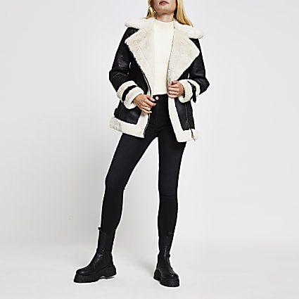 Black oversized shearling aviator jacket