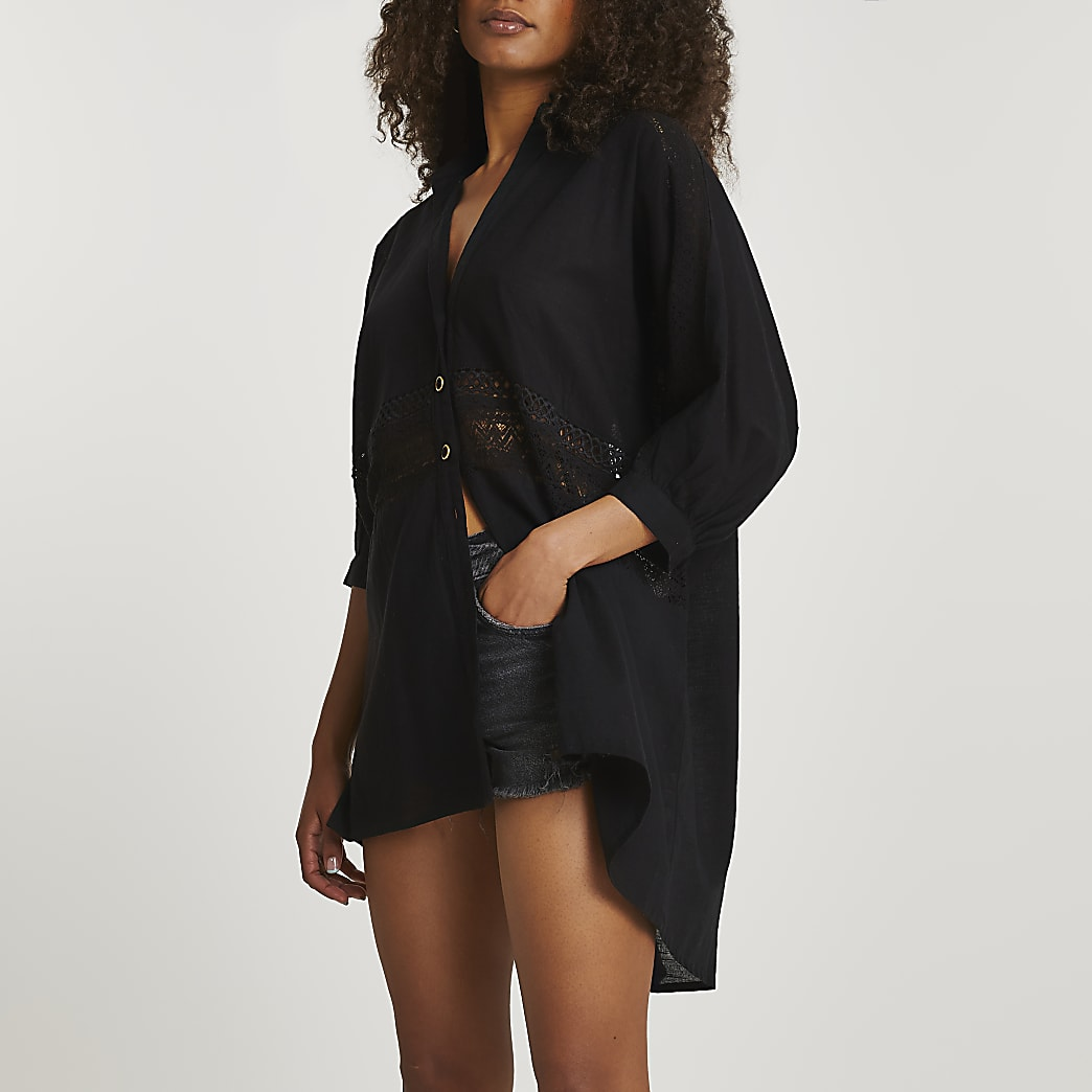 Black oversized shirt beach dress