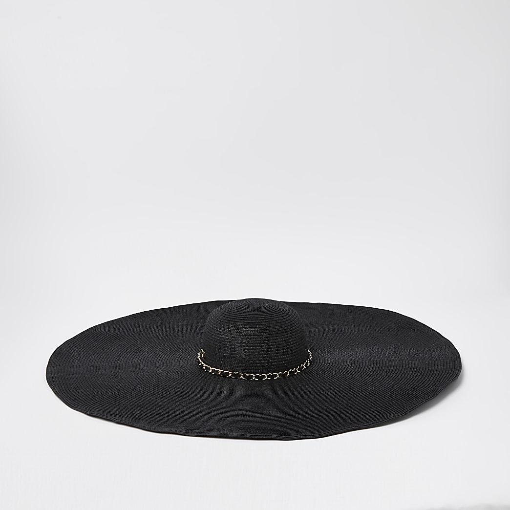 Black oversized straw sun hat