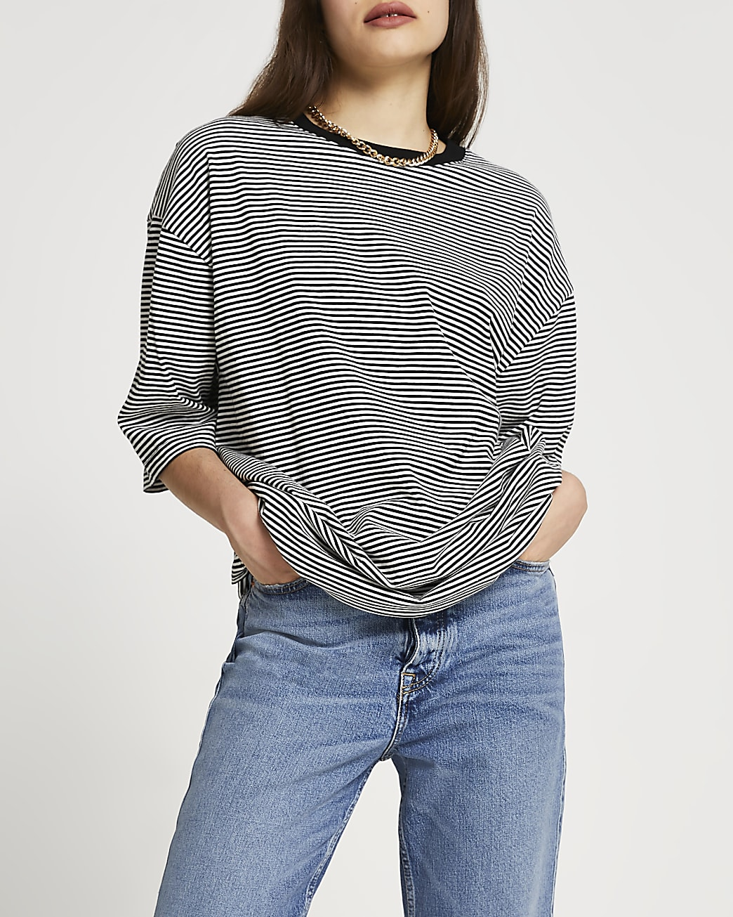 Black oversized stripe t-shirt