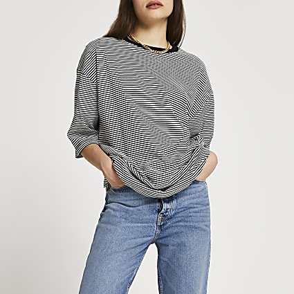 Black oversized stripe t-shirt