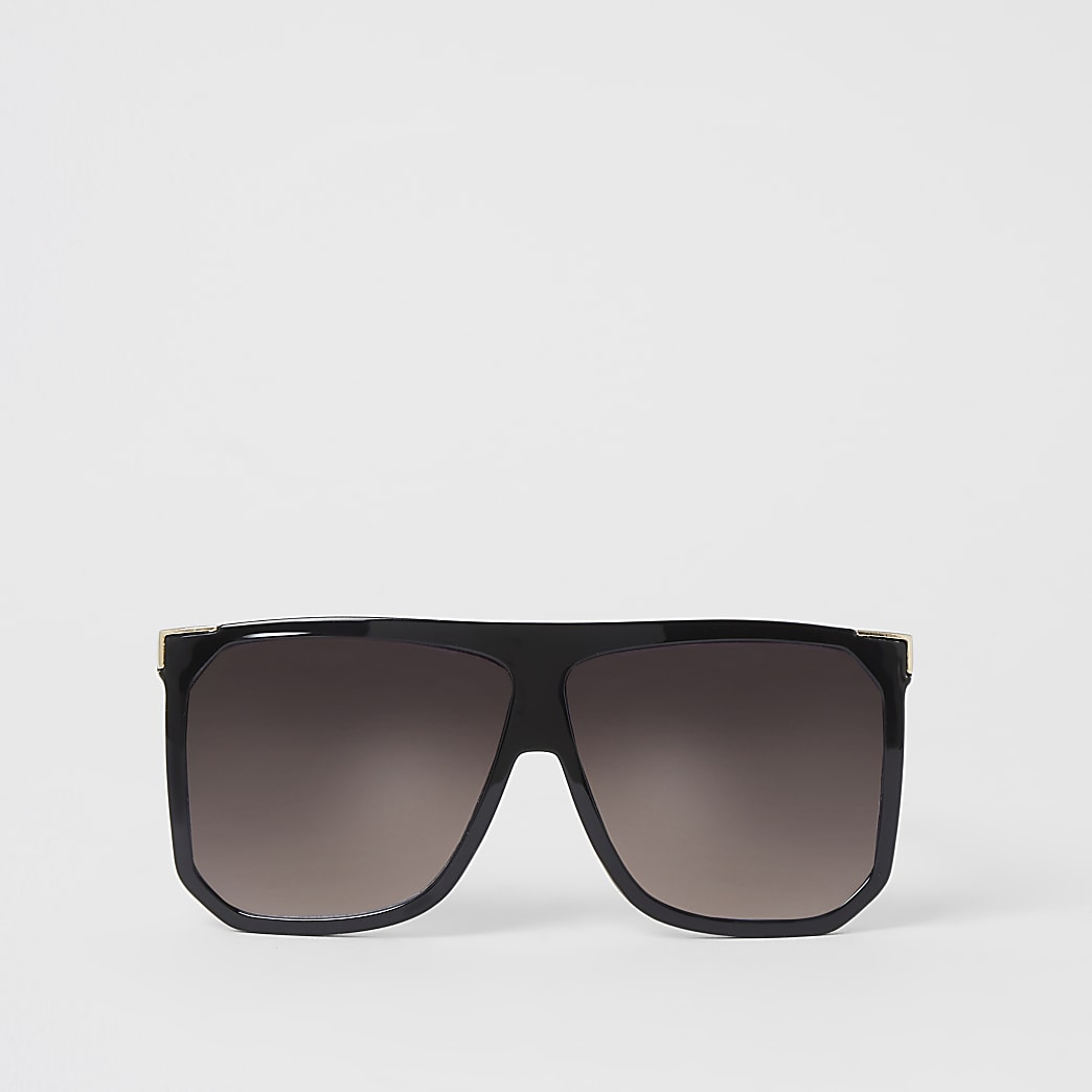 Schwarze Oversized-Visor-Sonnenbrille