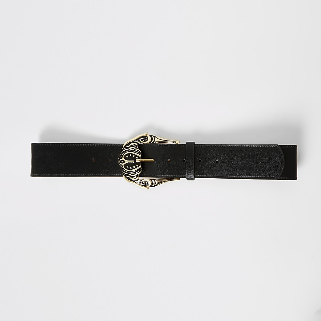 Black oversized Western buckle belt