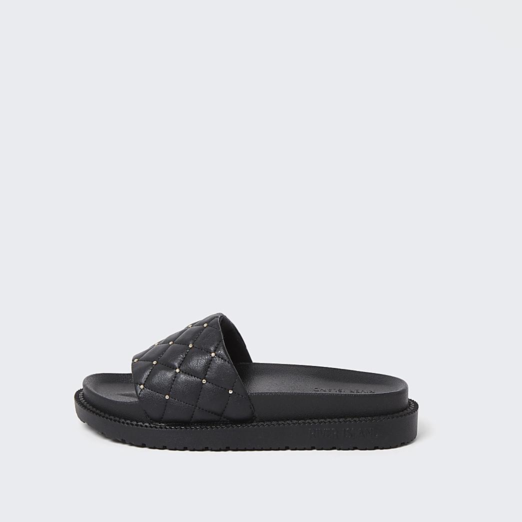 Black padded chunky sliders