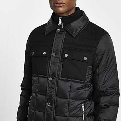 Black padded collar neck jacket