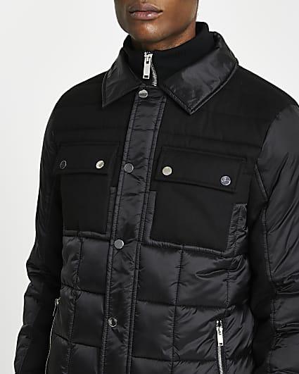 Black padded collar neck jacket