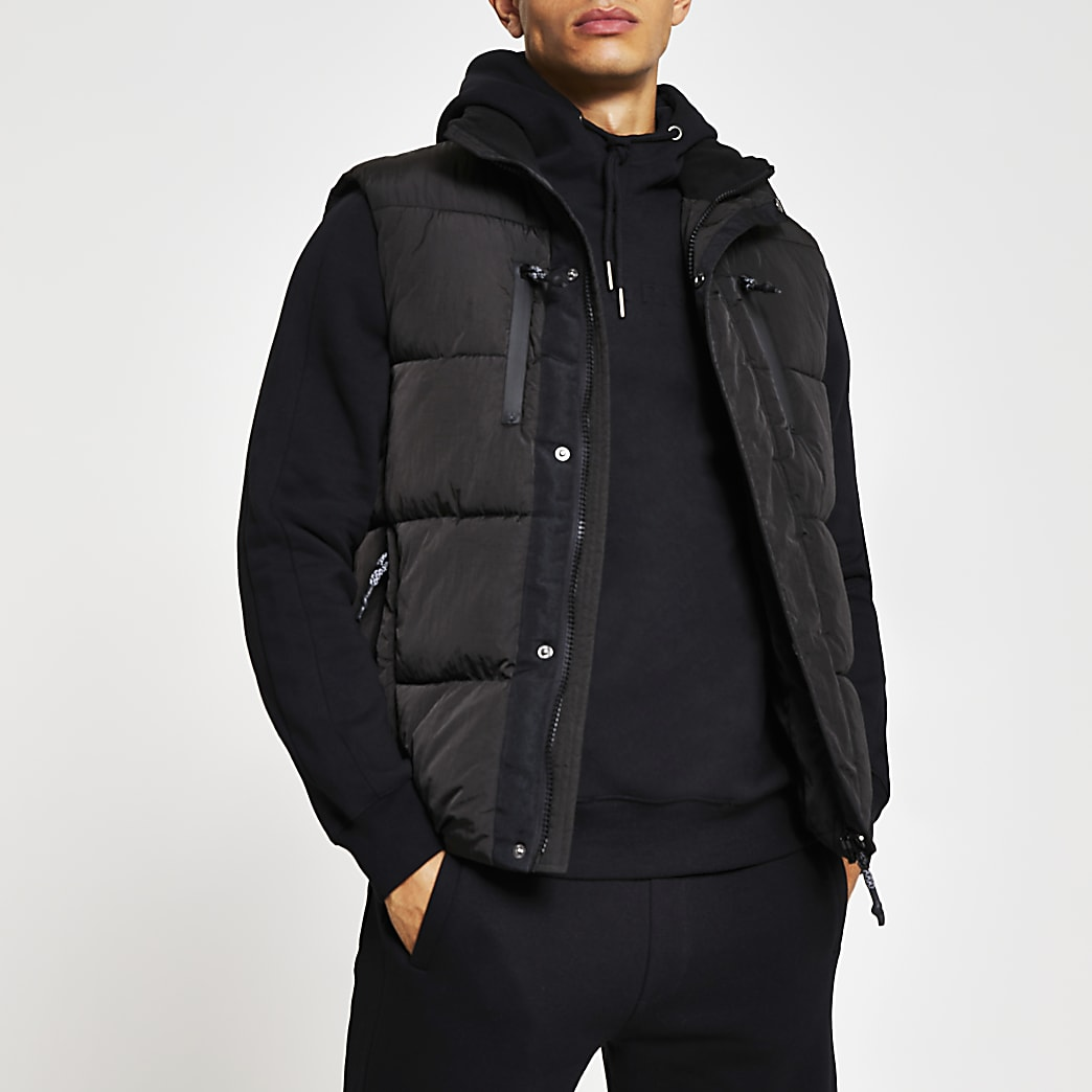 Black padded double pocket puffer gilet